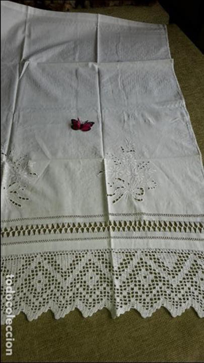 Antigüedades: Panel cortina, bordado a mano y ganchillo.ALGODON BLANCO 80 x 160 cm. Nuevo - Foto 14 - 250237330