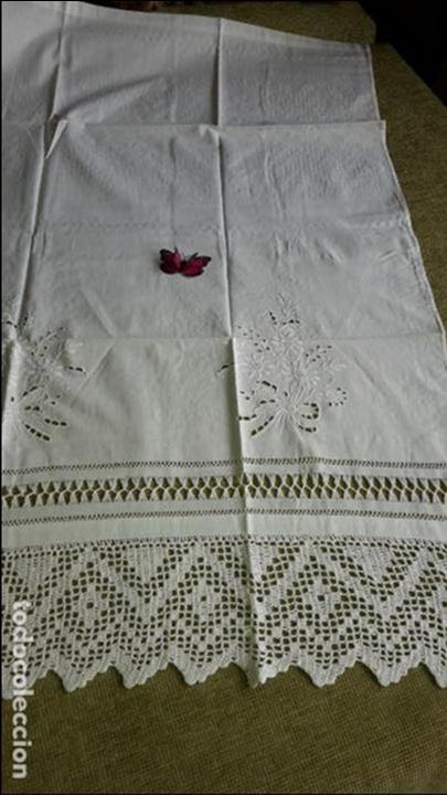 Antigüedades: Panel cortina, bordado a mano y ganchillo.ALGODON BLANCO 80 x 160 cm. Nuevo - Foto 6 - 250237330
