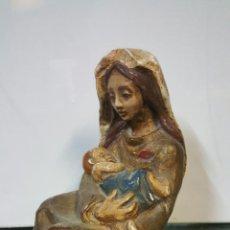 Antigüedades: FIGURA VIRGEN ESTUCO POLICROMADO 19CM. Lote 68049003