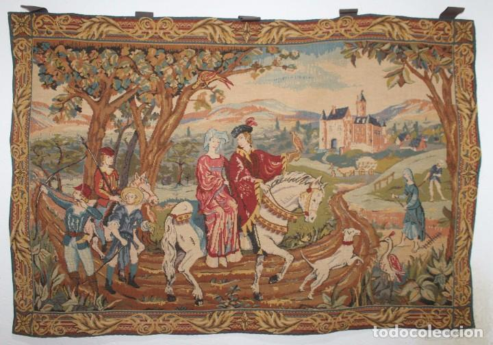 TAPIZ EN JACQUARD - LA CHASSE AU FACON ROYAL - LES TISSAGES D'ART DE LYS - CIRCA 1940 (Antigüedades - Hogar y Decoración - Tapices Antiguos)