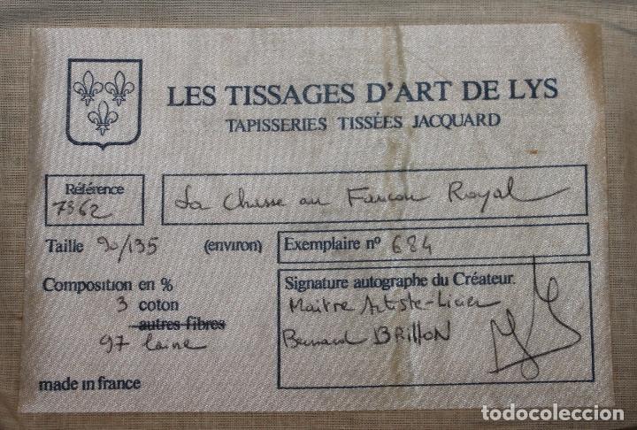 Antigüedades: TAPIZ EN JACQUARD - LA CHASSE AU FACON ROYAL - LES TISSAGES DART DE LYS - CIRCA 1940 - Foto 15 - 68068037