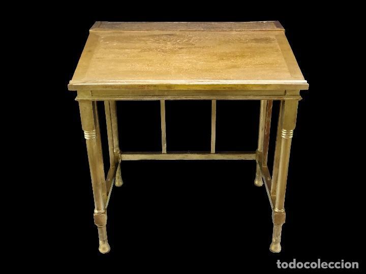 ANTIGUA MESA DORADA LECTURA, DE CASINO .PRECIOSA. (Antigüedades - Muebles Antiguos - Mesas Antiguas)