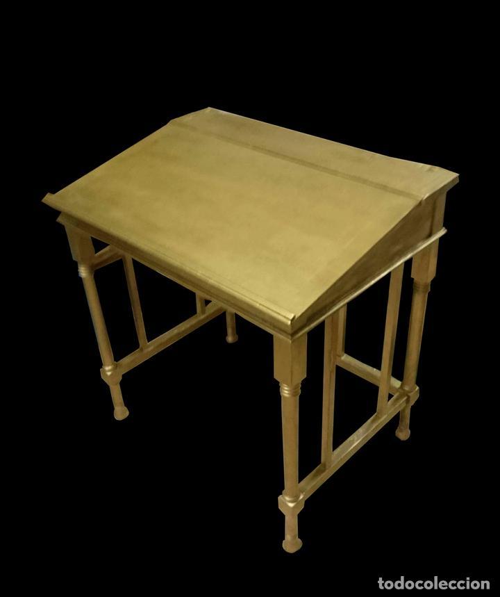 Antigüedades: Antigua mesa dorada lectura, de casino .Preciosa. - Foto 2 - 68070205