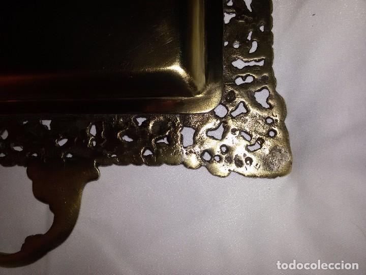 Antigüedades: MUY ANTIGUA BANDEJA DE BRONCE -43X27 CM - Foto 14 - 68082493