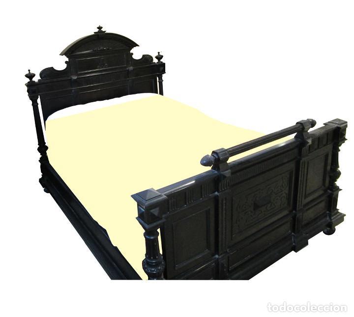 DORMITORIO ANTIGUO EN COLOR NEGRO COMPLETO (Antigüedades - Muebles Antiguos - Camas Antiguas)