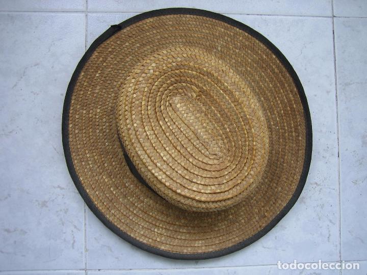Antigüedades: Sombrero antiguo cannotier de caballero talla 56. Fabricado en España - Foto 3 - 68146513