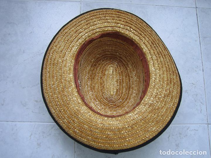 Antigüedades: Sombrero antiguo cannotier de caballero talla 56. Fabricado en España - Foto 4 - 68146513
