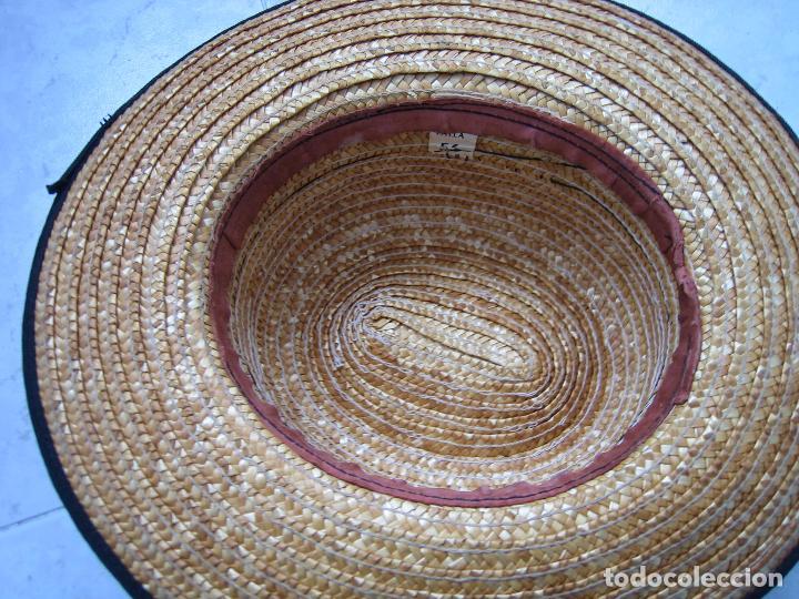 Antigüedades: Sombrero antiguo cannotier de caballero talla 56. Fabricado en España - Foto 6 - 68146513