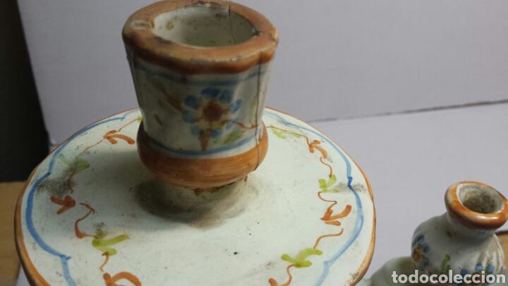 Antigüedades: Antiguo candelabro de ceramica de Alcora sellado - Foto 5 - 68177386