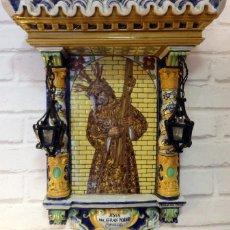 Antigüedades: RETABLO CERÁMICO: NUESTRO PADRE JESUS DEL GRAN PODER, CERÁMICA DE SANTA ANA SEVILLA. Lote 68198773