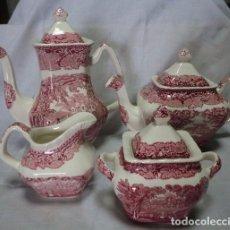 Antigüedades: JUEGO DE CAFÉ Ó TÉ - CAFETERA TETERA LECHERA AZUCARERA DE PORCELANA INGLESA MASON'S VISTA ENGLAND . Lote 68225961