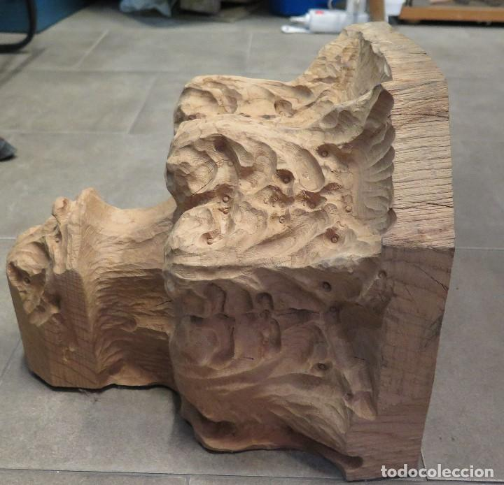 Antigüedades: GRAN MENSULA DE MADERA TALLA ORNAMENTADA CON MOTIVOS VEGETALES - Foto 2 - 68255945