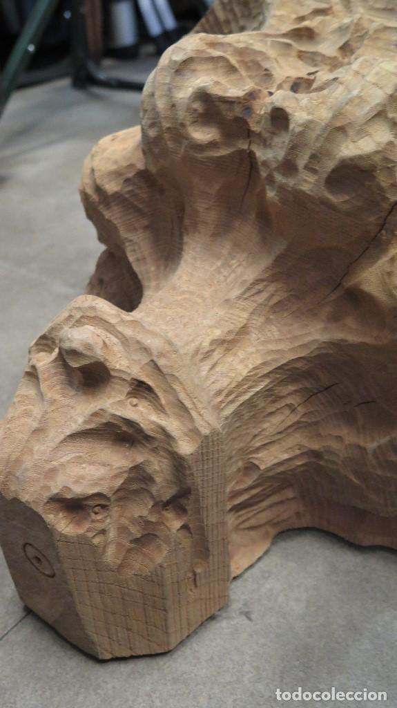 Antigüedades: GRAN MENSULA DE MADERA TALLA ORNAMENTADA CON MOTIVOS VEGETALES - Foto 3 - 68255945