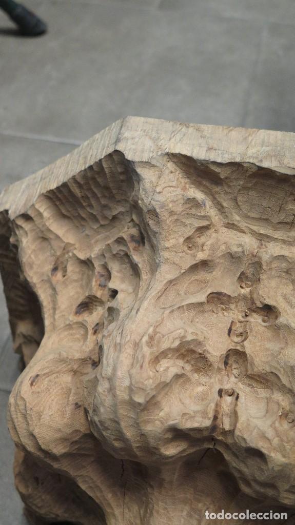 Antigüedades: GRAN MENSULA DE MADERA TALLA ORNAMENTADA CON MOTIVOS VEGETALES - Foto 5 - 68255945