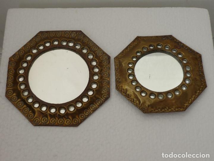 Coleccion 2 espejos de laton cobre para colgar comprar for Espejos para colgar