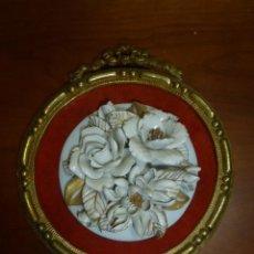 Antigüedades: FLOR FLORES EN OPALINA. CAMAFEO, CUADRO OVALADO. PROBABLEMENTE ALGORA. . Lote 68273285