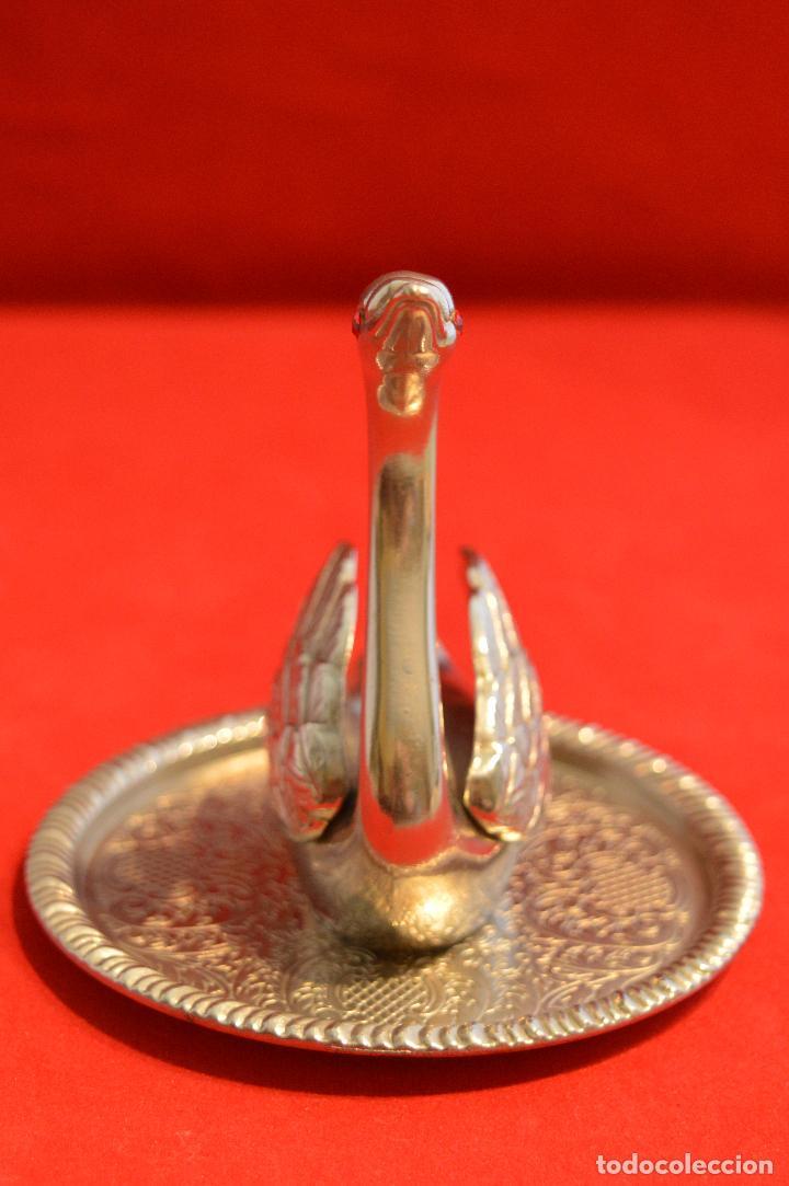 Antigüedades: BONITA FIGURA DE CISNE BAÑO EN PLATA ZINC ALLOY SILVER - Foto 5 - 68301037