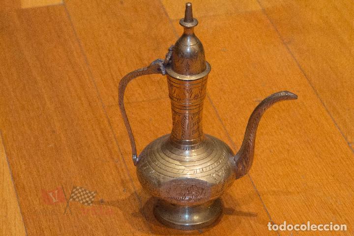 JARRÓN DORADO CON MOTIVOS FLORALES - INDIA (Antigüedades - Hogar y Decoración - Jarrones Antiguos)