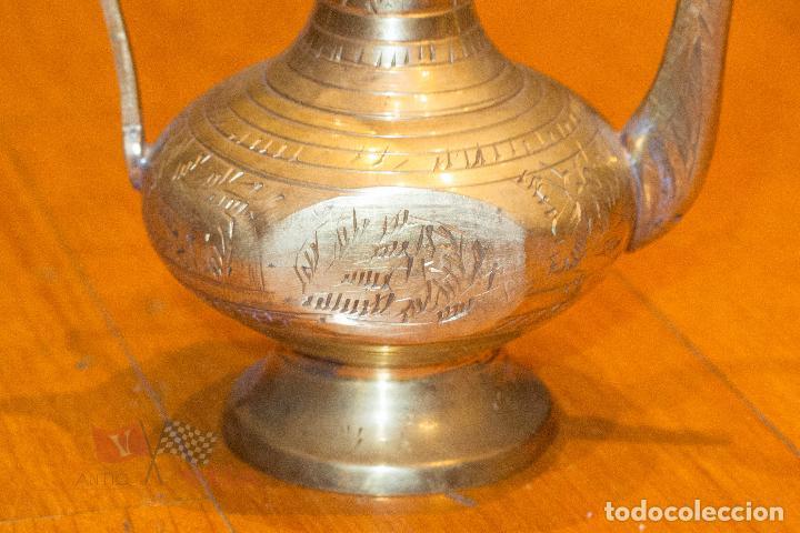 Antigüedades: Jarrón dorado con motivos florales - India - Foto 2 - 68342673