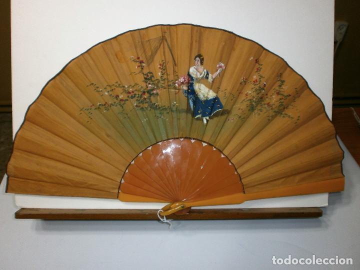 ABANICO MODERNISTA PINTADO A MANO (Antigüedades - Moda - Abanicos Antiguos)