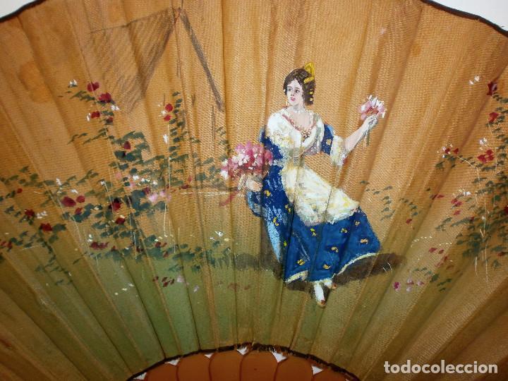 Antigüedades: ABANICO MODERNISTA pintado a mano - Foto 2 - 68365033