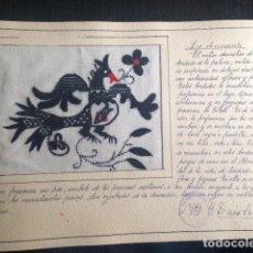 Antigüedades: ANTIGUO Y PRECIOSA LABOR DE BORDADO LA DECORACION PALOMA DE SALAMANCA Y GORGUERAS EN TOLEDO SECCION. Lote 139783465