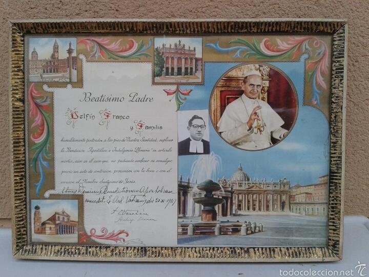 BEATISIMO PADRE PAPA PABLO VI EN MARCADO EN CRISTAL (Antigüedades - Religiosas - Varios)