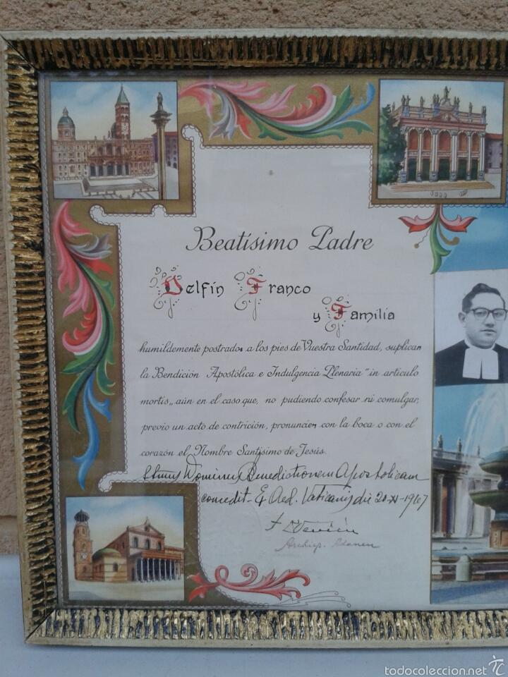 Antigüedades: BEATISIMO PADRE PAPA PABLO VI EN MARCADO EN CRISTAL - Foto 2 - 68526953