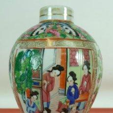 Antigüedades: JARRON CANTONES. PORCELANA CHINA. ESMALTADO Y POLICROMADO. SIGLO XIX. . Lote 89474124
