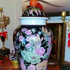 Antigüedades: ANTIGUO JARRON. TIBOR CHINO. PINTADO A MANO. EXPECTACULAR. MOTIVOS FLORALES.. Lote 68689770