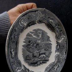 Antigüedades: FANTASTICO PLATO ANTIGUO CERAMICA LA AMISTAD CARTAGENA CAZA DEL CIERVO. Lote 68711005