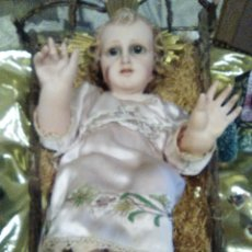 Antigüedades: NIÑO JESÚS DE OLOT, CON CUNA, TAMAÑO GRANDE . Lote 68745729
