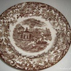 Antigüedades: PLATO DE PORCELANA PICKMAN S. A. LA CARTUJA DE SEVILLA 25,5CM. SERIE 202 MARRÓN. Lote 68785389