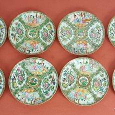 Antigüedades: JUEGO DE 8 PLATOS EN PORCELANA CHINA. CANTON. ESMALTADOS. SIGLO XIX-XX. . Lote 68833521