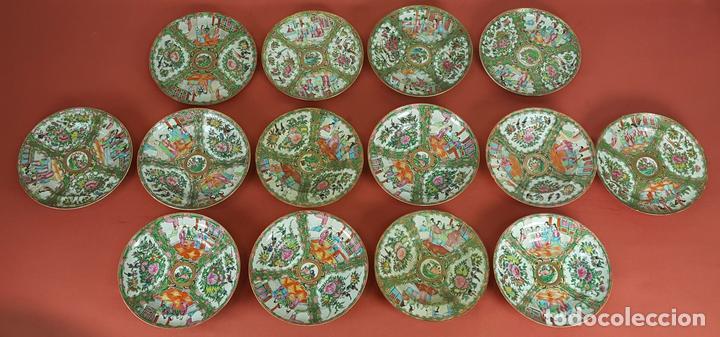 JUEGO DE 14 PLATOS EN PORCELANA CHINA. CANTON. ESMALTADOS. SIGLO XIXI-XX. (Antigüedades - Porcelanas y Cerámicas - China)