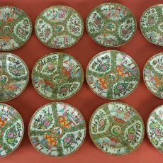 Antigüedades: JUEGO DE 14 PLATOS EN PORCELANA CHINA. CANTON. ESMALTADOS. SIGLO XIXI-XX. . Lote 68835141