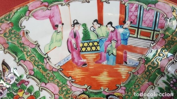 Antigüedades: JUEGO DE 14 PLATOS EN PORCELANA CHINA. CANTON. ESMALTADOS. SIGLO XIXI-XX. - Foto 3 - 68835141