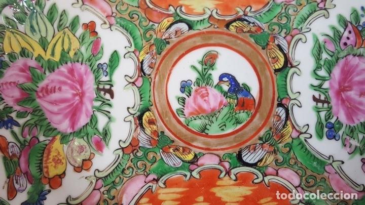 Antigüedades: JUEGO DE 14 PLATOS EN PORCELANA CHINA. CANTON. ESMALTADOS. SIGLO XIXI-XX. - Foto 4 - 68835141