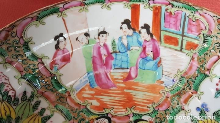 Antigüedades: JUEGO DE 14 PLATOS EN PORCELANA CHINA. CANTON. ESMALTADOS. SIGLO XIXI-XX. - Foto 5 - 68835141