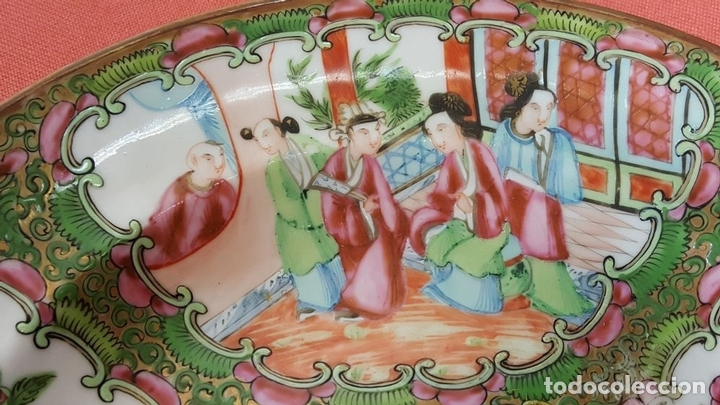 Antigüedades: JUEGO DE 14 PLATOS EN PORCELANA CHINA. CANTON. ESMALTADOS. SIGLO XIXI-XX. - Foto 7 - 68835141