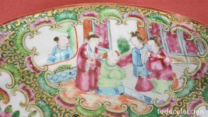 Antigüedades: JUEGO DE 14 PLATOS EN PORCELANA CHINA. CANTON. ESMALTADOS. SIGLO XIXI-XX. - Foto 9 - 68835141