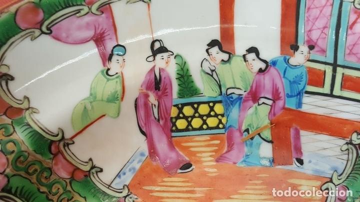 Antigüedades: JUEGO DE 14 PLATOS EN PORCELANA CHINA. CANTON. ESMALTADOS. SIGLO XIXI-XX. - Foto 12 - 68835141