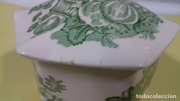 Antigüedades: Caja de porcelana inglesa MASON serie Fruit Basket, en verde. Tapa poligonal. 12 cm. - Foto 3 - 68835337