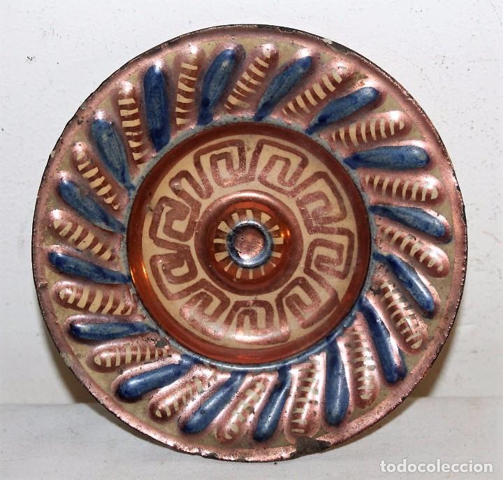 PLATITO EN CERÁMICA ESMALTADA DE REFLEJOS METÁLICOS - MANISES - SIGLO XIX (Antigüedades - Porcelanas y Cerámicas - Manises)