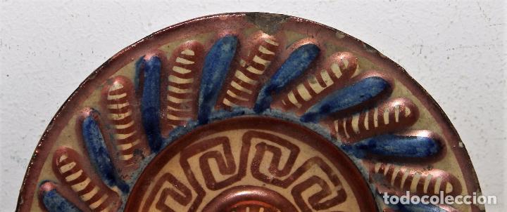 Antigüedades: PLATITO EN CERÁMICA ESMALTADA DE REFLEJOS METÁLICOS - MANISES - SIGLO XIX - Foto 3 - 68864161