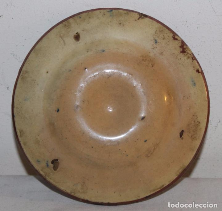 Antigüedades: PLATITO EN CERÁMICA ESMALTADA DE REFLEJOS METÁLICOS - MANISES - SIGLO XIX - Foto 5 - 68864161