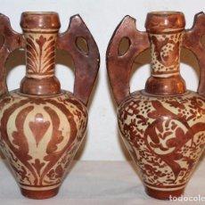 Antigüedades: PAREJA DE ÁNFORAS EN CERÁMICA DE REFLEJOS METÁLICOS - MANISES - PRINCIPIOS DEL SIGLO XX. Lote 68864713