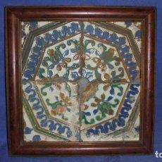 Antigüedades: ANTIGUO PANEL DE 4 AZULEJOS DE TRIANA SIGLO XIX, MEDIDA DE LOS 4 SIN MARCO 26X26 CM.. Lote 68865073