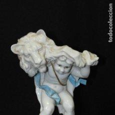 Antigüedades: FIGURA DE LEO EN AUTÉNTICA PORCELANA DE ALGORA DOCUMENTADA. POCO FRECUENTE EN PERFECTO ESTADO.. Lote 68874601