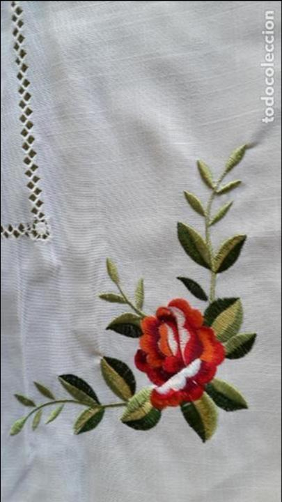 Antigüedades: Magnifica manteleria bordada.Beige claro 180 x 270 cm. 12 Servicios - Foto 16 - 212769057